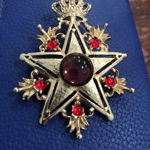 Vintage star and crown pin